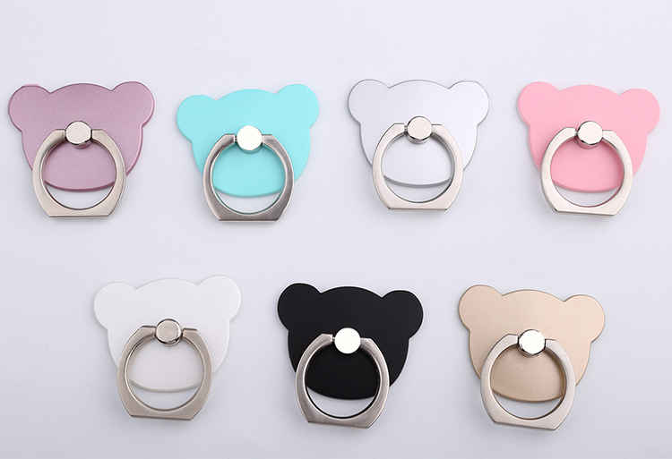 แหวนติดมือถือหัวหมีสีด้าน