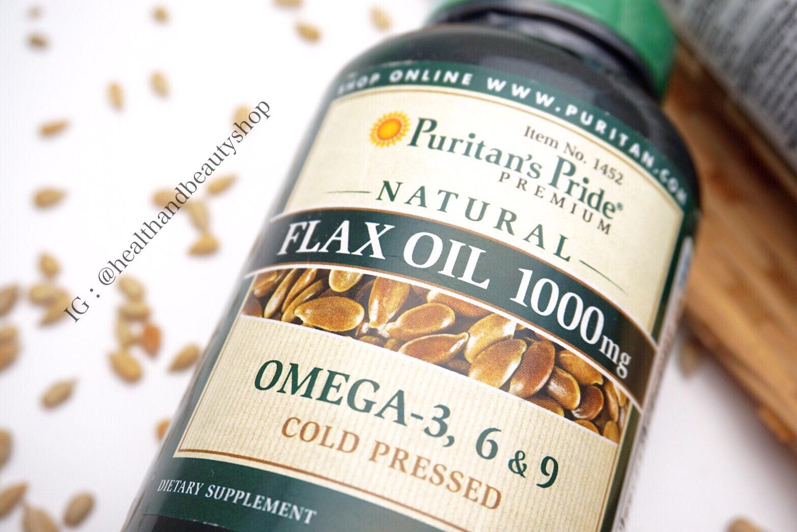 Puritan's Pride Natural Flax Oil 1000 mg 120 Softgels