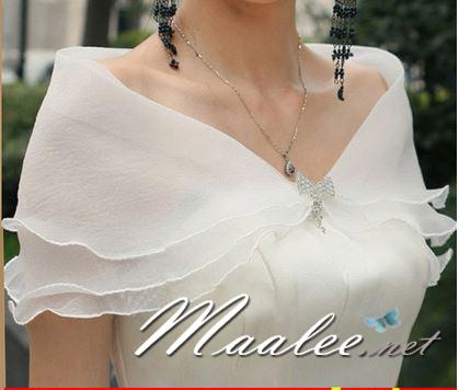 เสื้อคลุมชุดราตรี ผ้าแก้วออกันซ่า สีขาว พร้อมตะขอเพชรรูปโบว์