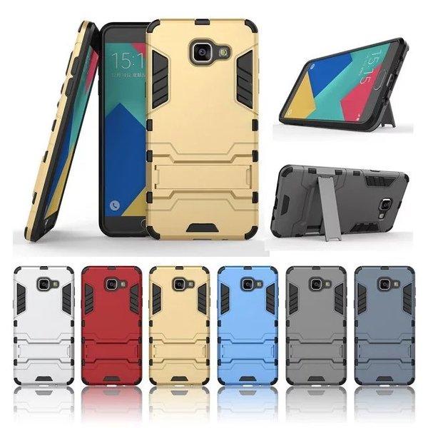 เคส Samsung Galaxy A5 2016 เคสกันกระแทกแยกประกอบ 2 ชิ้น ด้านในเป็นซิลิโคนสีดำ ด้านนอกพลาสติกเคลือบเงาโลหะเมทัลลิค มีขาตั้งสามารถตั้งได้ สวยมากๆ เท่สุดๆ ราคาถูก