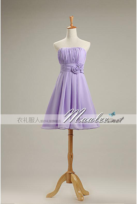 พร้อมเช่า ชุดราตรีสั้น ชุดเพื่อนเจ้าสาว สีม่วงอ่อน Lavender Lv-001B