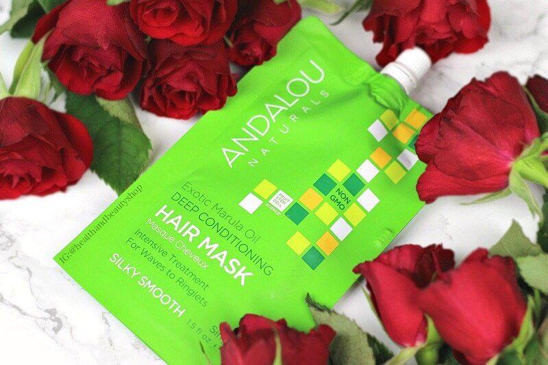 # เขียว สำหรับผมที่ไม่ได้ทำสี # Andalou Naturals, Exotic Marula Oil Deep Conditioning Hair Mask, 1.5 fl oz (44 ml)