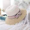 [พร้อมส่ง] H6065 หมวกสาน หมวกไปทะเล ตกแต่งด้วยผ้าลูกไม้ ริ้บบิ้นโบและไข่มุก สวยหวาน สไตล์เจ้าหญิง Princess Hat