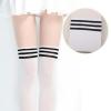 [พร้อมส่ง] P6892 ถุงน่องแฟนซี สีขาว ลายถุงเท้าคาดแถบสีดำ