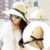 [พร้อมส่ง] H5671 หมวกสาน/หมวกไปทะเล ตกแต่งด้วยริบบิ้นผ้าผูกเป็นโบน่ารักๆ Beach Hat