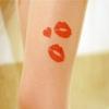 [พร้อมส่ง] T3600 ถุงน่องสีเนื้อ พิมพ์ลายลิปสติก หรือรอยจูบ Lipstick Kiss