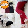 [ไซส์เด็ก] K7046 กางเกงเลกกิ้งเด็ก ปลายขาลูกไม้ ตกแต่งด้วยโบ สุดน่ารัก