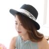 [พร้อมส่ง] H5683 หมวกสานปานามา หมวกไปทะเล ตกแต่งด้วยสายคาดพิมพ์ลายโบ น่ารักๆ สไตล์เกาหลี Korean Style