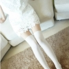 [พร้อมส่ง] P3574 ถุงน่องเต็มตัวลายครึ่งขา สไตล์ญี่ปุ่น แบบคล้ายถุงเท้ายาว สีขาว (P1274WH)