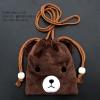 กระเป๋าใส่เหรียญ น่ารัก แบบห้อยคอ หมีสีน้ำตาล