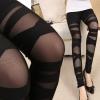 [พร้อมส่ง] P7912 กางเกงเลกกิ้งสีดำ ลายคาด Rock Cross Legging