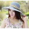 [พร้อมส่ง] H5450 หมวกสานปีกกว้าง/หมวกเที่ยวทะเล ฉลุลายที่ปีกหมวก ตกแต่งด้วยโบสวยๆ สไตล์เกาหลี Korean Style