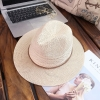 [พร้อมส่ง] H7280 หมวกปานามา ทอโครเชต์แบบโปร่ง ตกแต่งด้วยเปียหนังกลับเส้นเล็ก เพิ่มความเท่ห์