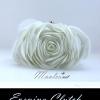 พร้อมส่ง Evening Clutch กระเป๋าออกงาน รูปดอกกุหลาบ เนื้อซาตินสวย พร้อมสายโซ่ สั้น-ยาว สีขาว