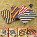 case iphone 5 เคสไอโฟน5 เคสหนังฝาพับข้างตั้งได้ลายสลับสีสดใสสวยๆ color stripes bracket holster