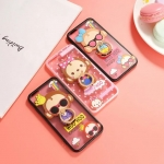 เคส iPhone SE / 5s / 5 พลาสติกโปร่งใสขอบสีพาสเทลลายลิงน้อยแสนน่ารัก พร้อมแหวนสำหรับตั้ง ราคาถูก (ไม่รวมสายคล้อง)