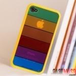 case iphone 4s 4 เคสขอบซิลิโคน TPU นิ่มๆ ด้านหลังสลับสีรุ้งสวยๆ rainbow shell iphone4s