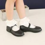 [ไซส์เด็ก] K8181 ถุงเท้าเด็ก ขอบระบายผ้าซาติน