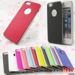 case iphone 5 เคสไอโฟน5 เคส moshi สีพื้นเรียบขอบเงิน โชว์โลโก้ มีหลายสีให้เลือก