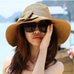 [พร้อมส่ง] H4072 หมวกสาน/หมวกไปทะเล ปีกว้าง ตกแต่งด้วยโบโตๆ แบบสวย บังแดดได้ดีค่ะ