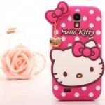 Case S4 เคส Samsung Galaxy S4 i9500 เคสซิลิโคนหน้าน้องคิตตี้น่ารักๆ เคสสีหวานพื้นลายจุด มีสายจี้ทองสวยๆ Polka Dot cartoon kitty cat pendant เคสมือถือ ราคาถูก ขายส่ง -B-