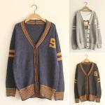 [Pre*order] MM4516 เสื้อคลุมไหมพรม กันหนาว แบบคาร์แกน ทอลายสไตล์เสื้อเบสบอล Baseball Cardigan