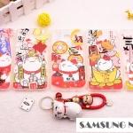 Case Samsung Galaxy Note 5 พลาสติกโปร่งใสสกรีนลายแมวกวักนำโชค พร้อมที่ห้อย Lucky Neko ราคาถูก