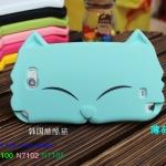 Case Note 2เคส samsung galaxy Note 2 เคสหน้าน้องแมวตาหยี ซิลิโคน 3D TPU Silicone Case 3D very cute big cat face