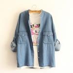 [Pre-order] MM3638 เสื้อคลุมยีนส์ / เสื้อเชิ๊ตยีนส์ แขนยาว ติดกระดุมด้านหน้า Japan Style