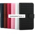 เคสซัมซุงโน๊ต4 Case Samsung Galaxy note 4 แบบฝาพับหนังเทียมแบบลายถักสานสวยหรูมาก ราคาส่ง ขายถูกสุดๆ