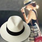 [พร้อมส่ง.] H7124 หมวกสานทรงปานามา ตกแต่งด้วยผ้าคาดทับไขว้กัน