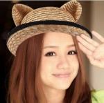 [พร้อมส่ง] H3539 หมวกสานหูแมว คาดด้วยโบว์สีดำ น่ารัก CAT HAT