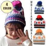 [พร้อมส่ง] H6487 หมวกไหมพรมกันหนาว สไตล์เกาหลี ทอลายกวางน้อย น่ารัก