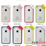 case iphone 4s 4 ขอบเคสสีหวาน สวยๆ hello kitty มีโบว์ น่ารักๆ