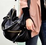 [Pre-order] MM3105 สะเป๋าสะพายผู้หญิง สีดำ หนัง PU แนวสบายๆ Casual Style