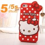 case iphone 5 / 5s เคสหน้าคิตตี้ซิลิโคน 3D น่ารักๆ ตัวเคสเป็นซิลิโคนลายจุด polkadot มีสายห้อยหัวใจทองหรูๆ สวยๆ ราคาส่ง ขายถูกสุดๆ -B-