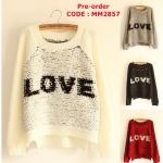 [Pre-order] MM2857 เสื้อกันหนาวไหมพรม สเวเตอร์แบบสวม ทอลาย LOVE