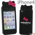 case iphone 4s 4 เคสซิลิโคน 3D คิตตี้ เป็นแมวมีหูติดโบว์ น่ารักๆ Cute Kitty bow silicone case iphone4 4S