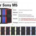 เคส Sony M5 เคสกันกระแทก สวยๆ ดุๆ เท่ๆ แนวอึดๆ แนวทหาร เดินป่า ผจญภัย adventure มาใหม่ ไม่ซ้ำใคร ตัวเคสแยกประกอบ 2 ชิ้น ชั้นในเป็นยางซิลิโคนกันกระแทก ครอบด้วยแผ่นพลาสติกอีก1 ชั้น สามารถกาง-หุบ ขาตั้งได้