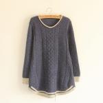 [Pre-order] MM3074 เสื้อกันหนาวไหมพรม แขนยาว แบบสวม ชายเสื้อขลิบลายสลับสี สวยค่ะ