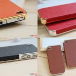เคสไอโฟน 4/4s case iphone 4/4s ตัวเคสทำจากหนังไมโครไฟเบอร์ ขอบชุบเรซิน สีเงินและสีทอง สวยหรู มีระดับ ใช้แล้วไฮโซมากๆ