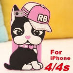 case iphone 4 เคสไอโฟน4s เคสน้องแมว RB ใส่หมวกสีชมพูน่ารักๆ แนวๆ เคสซิลิโคน 3D