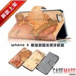 case iphone 5 เคสไอโฟน5 เคสหนังฝาพับข้างตั้งได้ลายแผนที่ลายแทงสวยๆ nautical map leather