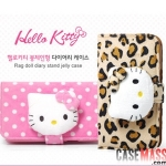 case iphone 5 เคสไอโฟน5 เคสกระเป๋าขนปุยตุ๊กตาคิตตี้สวยลายจุด ลายเสือดาว มีตุ๊กตาคิตตี้เป็นที่ปิด น่ารักสุดๆ ใส่บัตรได้ เคสด้านในเป็นซิลิโคน TPU นิ่มๆ Leopard Hello kitty Plush Doll Polka Dot holster iPhone5