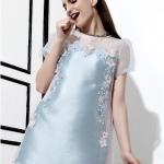 [พร้อมส่ง] MM3995 เดรสผ้าแขนสั้น ผ้าซาติน เหมือนแบบ 100% Premium Quality