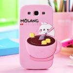 CASE Samsung Galaxy SIII (S3) เคสซิลิโคนลายการ์ตูน Molang คนถ้วยกาแฟน่ารักๆ เคสมือถือราคาถูกขายปลีกขายส่ง