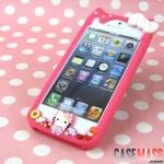 case iphone5 เคสไอโฟน5 กรอบซิลิโคน ตัวนูนคิตตี้กับมายเมโลดี้ประดับโบว์ดอกไม้นิ่มๆ สีหวานๆ น่ารักๆ สวยๆ SANRIO KITTY MY MELODY Silicone protective iPhone5