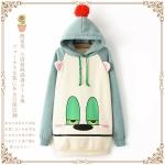 [Pre*order] EUS4682 เสื้อกันหนาว แขนยาว แบบสวม มีหมวกฮู๊ด ลายหมีหน้าง่วง Sleepy Bear Sweater