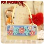 case iphone 4/4s เคสไอโฟน4/4s Cliché เคสซิลิโคนทำเป็นกระเป๋าถือลายดอกไม้น่ารักๆ