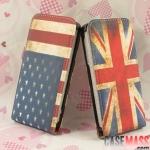 case iphone 5 เคสไอโฟน5 เคสหนังฝาพับลายธงชาติอังกฤษ อเมริกา ทำให้เก่าๆ เท่ๆ USA retro flag